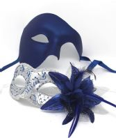 Blue and Silver Flower Phantom Masks